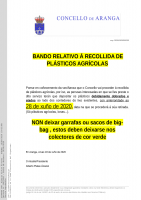 ANUNCIO DA PRÓXIMA RECOLLIDA DE PLÁSTICOS AGRÍCOLAS