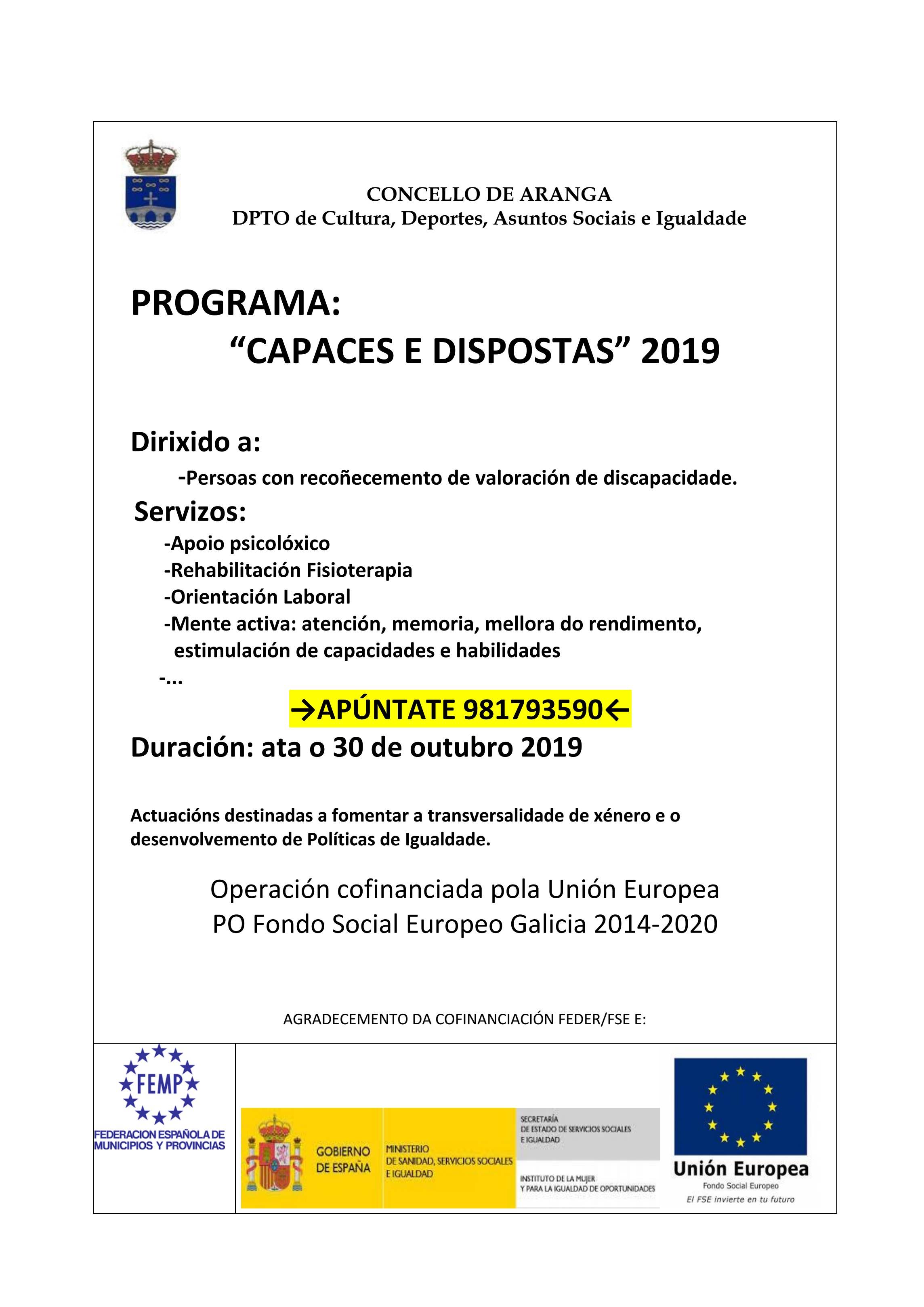 programa capaces e dispostas 2019